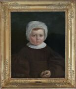 Antique Oil Painting 1836 Portrait Of A Child Listed Artist Adolphe Gagey