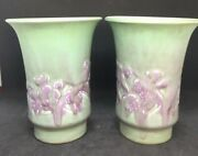 Pair Of Rare Rookwood Pottery Vases Flared Matte Green W/ Flowers 1935 6541