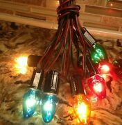 Vintage C-6 Christmas Light Strand With Clear Colored Clip-on Lights