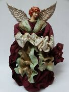 Victorian Christmas Angel Crepe Raffia Paper And Plastic 16.5 H Tree Topper Table