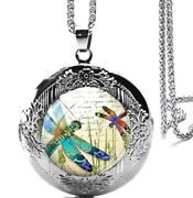Beautiful Dragonfly Locket Pendant Necklace 24 Stainles Steel Chain Gift Boxed
