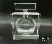 Vintage Lead Crystal Glass Square Art Deco Perfume Bottle With Stopper 5 3/4