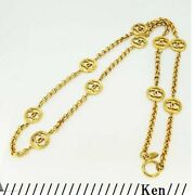 Necklace Auth Coco Mark Chain Logo Vintage Rare Gold 28 Medal Coin F/s