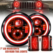 7and039and039 Led Headlight Red Drl Turn Signal + Tail Lamp Combo For Jeep Wrangler Jk 07+