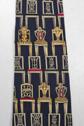 Unicef Museum Company Neoclassical Chairs Tie Necktie Art To Wear Navy Silk