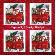 Christmas Santa Express Delivery Red Truck Dog Cat Pet Woven Bedroom Blanket