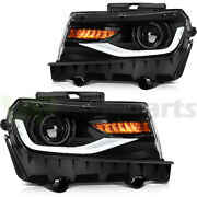 For 2014-2015 Chevrolet Camaro Front Headlights Replacement Led Drl Lamps Pair