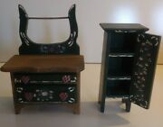 Vintage Dollhouse Miniature Furniture Country Kitchen Wood Hutch And Cabinet