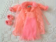 Vintage 1970 Barbie Clothes Pink Nightgown Robe Slippers 1463 Lovely Sleep Ins