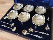 Rare Boxed Set Of Six Antique Solid Silver Shell And Dolphin Salts With Spoons
