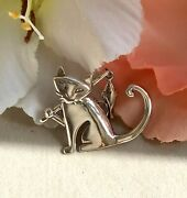 925 Vintage Shubes Mfg Sterling Silver Kitty Cat Fishing Pole Brooch Pin Marked