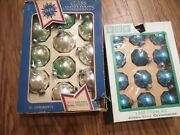 2 Boxes Of Vintagr Christmas Ornaments Made In U.s.a, Blue And Silver, Glass