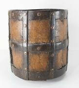 Antique Early Primitive Gothic Medieval Riveted Iron And Wood Bucket Pail