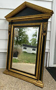"""Beautiful Vintage Large Black And Gold Italian Made Tabernacle Mirror 51"""" X 31"""""""