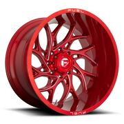 4-new 22 Fuel D742 Runner Wheels 22x10 8x180 -18 Red Milled Rims 124.3