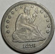 1876-cc Seated Liberty Quarter Dollar Extremely Fine Carson City Mint 25c Coin