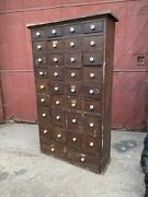 1880s Apothecary Hardware Store Cabinet Country Industrial Farmhouse Entryway