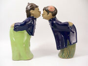 Pair Of Vintage Chinese Ceramic Couple Kissing Figurines Statues