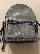 Victoriaand039s Secret Sparkle Small City Backpack Black And Silver Glitter New