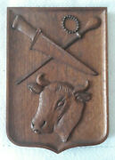 Vintage French Butcher Cow Carved Wooden Crest Panel Not Pediment