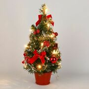 Table Led Mini Christmas Tree Lighted Decorated Desktop Silver Gold Pine Trees