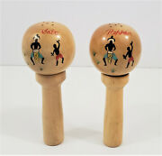 Wooden Rattle Salt And Pepper Shakers Set Made In Japan Rare