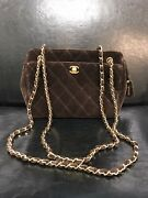 Vintage Chocolate Velvet Chain Shoulder Bag Professionally Authenticated