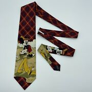 Micky Mouse And Pluto Tie Red Golfing Mens Necktie