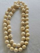 14k Gold Chinese Carved Natural Genuine Horse Netsuke Bead Necklace