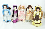 Set Of 5 Vintage Country Collectable Porcelain Dolls By Russ + One More