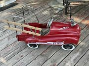 Burns Novelty Pedal Car Fire Truck For Parts Or Repair