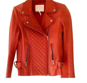 Sold Out Maje Soft Red Dobby Quilted Leather Jacket Size 36 Us 2/4 Vintage