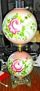 Vtg Fenton Hand Painted Double Globe Lamp W Roses Gone With The Wind Style Nice