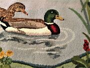 Hand Hooked Rug George Wells Original Duck Pond V.good Condition Rectangle
