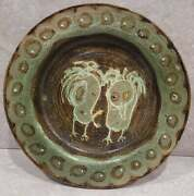 Mid Century Don Bendel Studio Pottery Ceramic Abstract Art Charger Catchall Dish