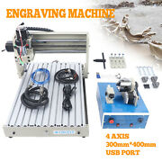 Usb 400w 4 Axis Cnc Router Engraver Kit Drilling Milling Machine Remote Control