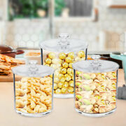 Set Of 3 Clear Storage Canister Jars For Bathroom Cotton Jar Plastic Apothecary