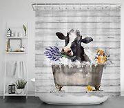 Hvest Farmhouse Cow Shower Curtain Black And White Farm Animal With Lavender ...