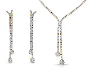 Fine Diamond 1.50ct. J-vs1 Necklace And Earrings Yellow Gold 17 Inch - 43.20cm.