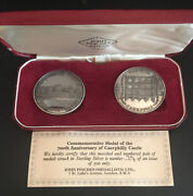 1971 Caerphilly Castle 700th Anniv Matching 2 Silver Proof Medal Set - Complete