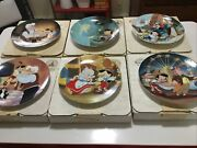 Disney Pinocchio Collector Plates Edwin M. Knowles Complete Set Of 6 -with Coa's