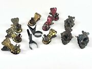 12 Antique Victorian Tin Metal Christmas Tree Candle Holder Clip-on Vintage