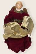 Christmas Angel Tree Topper Burgundy And Gold Wings Religious Decoration