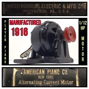 1916 American Piano Co. A.c Electric Motor Antique Coin Player Westinghouse Mfg
