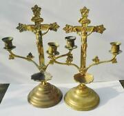 Pair Vintage Brass Altar Candle Holders Holy Water Stoup And Crucifix Cross 13inch