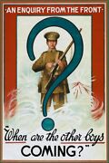 Enquiry From The Front Vintage Wwi Poster + Free Shipping