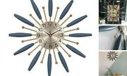 Large Wooden And Metal Ball Clock In Blue, Mid-century Sunburst Battery 28