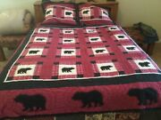 """Woolrich Bear. Full/queen Size Patchwork Quilted Comforter 83 X 85"""" W/shams"""
