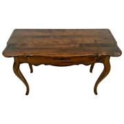 Ethan Allen Console Sofa Table Solid Walnut Single Drawer Vintage French Country