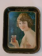 1924 Coca Cola Serving Tray Brown Rim Girl With Coke Glass